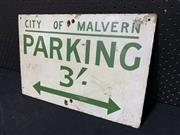 Sale 9092 - Lot 1025 - Early parking sign on masonite (h:31 x w:45cm)