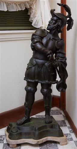 Sale 9103M - Lot 402 - A pair of metal Spanish guard figures on stone base, Height 108cm