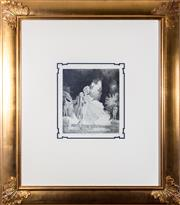 Sale 8338A - Lot 87 - A Norman Lindsay monophoto lithograph, Julia Frisk & Mr Brisk, 146/200, work size 29 x 26cm, in gilt frame
