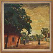 Sale 8363 - Lot 574 - Wilhelm Legler (1875 - 1951) - Untitled (Country Village Scene), 1915 63.5 x 63.5cm