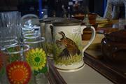 Sale 8396C - Lot 14 - Franklin Porcelain Limoges Set of 3 Lidded Peacock Themed Tankards (3)