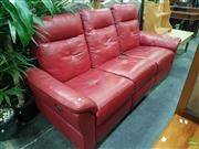 Sale 8601 - Lot 1419 - Red Leather Three Seater Recliner