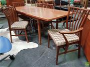 Sale 8625 - Lot 1021 - Younger Teak Seven Piece Dining Setting incl. Extension Table and Six Chairs