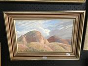 Sale 8674 - Lot 2047 - Vicki Powys - Desert Landscape oil on canvas on board, 20.5 x 34.5cm, signed lower left