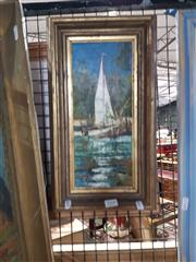 Sale 8686 - Lot 2049 - Artist Unknown - Sailboat, oil on canvas on board, 39 x 22cm (frame size), unsigned