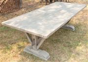 Sale 8871H - Lot 36 - A rectangular timber effect fibreglass outdoor table. Height 78cm Width 220cm Depth 100cm