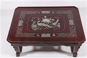 Sale 9003C - Lot 655 - Large mother of pearl inlaid Japanese foldable breakfast table (W61cm, some scratches)