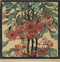 Sale 9081A - Lot 5090 - Margaret Preston (1875 - 1963) - Wheel Flower 36 x 36 cm (frame: 67 x 67 x 3 cm)