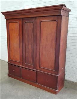 Sale 9097 - Lot 1087 - Late 19th Century Cedar Wardrobe, with three timber panel doors, enclosing a fitted interior & three drawers below (distressed)
