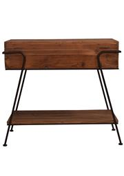Sale 8342A - Lot 307 - A reclaimed old pine console with lower shelf and bent metal frame, H 78 x W 84 x D 41cm