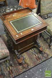 Sale 8345 - Lot 1076 - Victorian Burr Walnut Davenport, with gallery & tooled leather top, enclosing birdseye maple interior & four drawers to the right