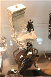 Sale 8360 - Lot 97 - Bronze Figure & Fox on Base AF