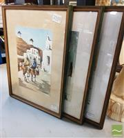Sale 8495 - Lot 2083 - Artist Unknown (3 works) - Scenes from a Mediterranean Town 34 x 25.5cm, each (frame size)