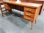 Sale 8684 - Lot 1014 - Australian Teak Desk with Five Drawers