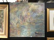 Sale 8856 - Lot 2004 - Helen Low Sydney Harbour oil, 76 x 76cm, signed