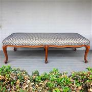 Sale 8878T - Lot 94 - French Style Upholstered Ottoman of Generous Proportions on Scroll Carved Feet Dimensions - 179cm x 80cm x 54cm