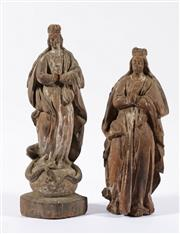 Sale 9003C - Lot 656 - Pair of Filipino carved timber santos figures (H33.5cm & 29.5cm)
