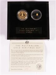 Sale 9035M - Lot 870 - The Australian Gold Heritage Set containing pure 1/2 oz 1998 proof nugget $50 gold coin and a natural gold nugget, no.372/435