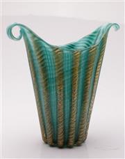 Sale 9052 - Lot 134 - Turquoise art glass vase with aventurine insert (H28cm, one handle broken)