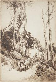 Sale 9055A - Lot 5061 - Thomas Friedensen (1879–1931) - The Mountain Road, Bush Creek, N.S.W, 1926 30 x 21 cm (frame: 51 x 41 x 2 cm)