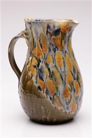 Sale 9052 - Lot 42 - Signed studio pottery drip glazed jug (H31cm)