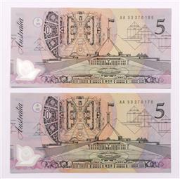Sale 9110 - Lot 28 - Two Australian $5 Banknotes pale green