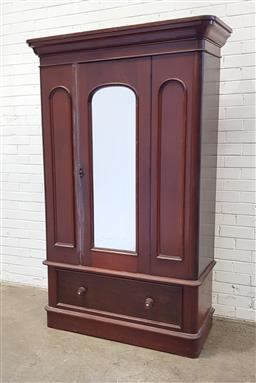 Sale 9126 - Lot 1019 - Late 19th Century Cedar Wardrobe, with central mirror panel door & narrow side panels, with long drawer below (h:212 w:106 d:43cm)