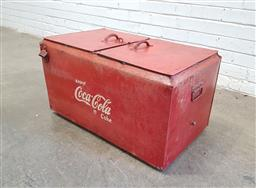 Sale 9134 - Lot 1085 - Vintage Coca-Cola flip top ice box with attached bottle opener (h:42 w:75 d:47cm)