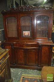 Sale 8345 - Lot 1093 - 19th Century Cedar Bookcase by David Mackenzie (active 1843-1880) with three glass panel doors flanked by pilasters, above a drawer...