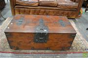 Sale 8460 - Lot 1045 - 19th Century Iron Bound Korean Money Chest (lock & certificate in office - no key)