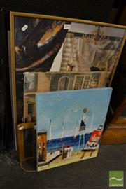 Sale 8464 - Lot 2095 - 7 Pictures, Slate Board & Large Ceramic Tile