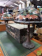 Sale 8480 - Lot 1036 - Pair of Leadlight Shade Table Lamps