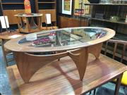 Sale 8643 - Lot 1010 - Oval G Plan Atmos Coffee Table with Glass Top