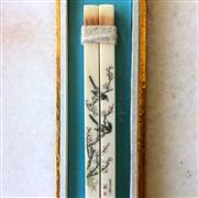 Sale 8878T - Lot 95 - Chinese Set of Three Ivory Chopsticks Handpainted Naturalistic Scenes and PoemsSet in Glass Cased Presentation Boxes Length of Box...
