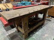 Sale 9002 - Lot 1050 - Good French Works Bench with 2 Vice and 2 Metal Universal Clamps (h:76 x w:173 x d:48cm)