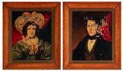 Sale 9080J - Lot 87 - Colonial School - pair of early 19th Century portraits each 51 x 41cm