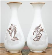 Sale 9081H - Lot 24 - A pair of baluster form milk glass vases printed with transfer printed scenes of angels, Height 33cm