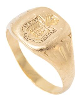 Sale 9149 - Lot 385 - AN ANTIQUE 18CT GOLD SIGNET RING; cushion shape top engraved with a shell surmounting a shield centring a ship and text, size at top...
