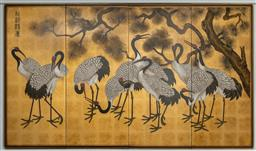 Sale 9256H - Lot 41 - A Chinese four panelled screen with gold leaf background depicting cranes beneath a pine tree, with calligraphy signature top left,...
