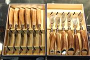 Sale 8360 - Lot 81 - Hardy Bros Stag Horn Handled Cutlery For 6