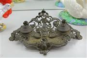 Sale 8360 - Lot 69 - Brass Cherub Form Desktop Inkwell