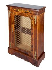 Sale 8379A - Lot 95 - Victorian walnut Cabinet With Floral marquetry, Brass Grill and ormolu mounts  English, circa 1860  H:105cm D:32cm  W:76cm