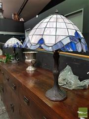 Sale 8480 - Lot 1004 - Pair Of Cream & Blue Leadlight Table Lamps