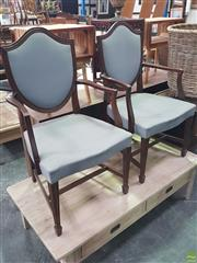 Sale 8601 - Lot 1024 - Pair of Shield Back Armchairs