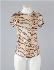 Sale 8685F - Lot 61 - A Zimmermann viscose/silk blend knit tiger print top, size 0