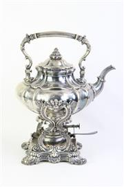 Sale 8749 - Lot 1 - Posen European Silver (800) Kettle on Stand with Burner