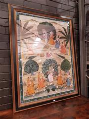 Sale 8868 - Lot 1142 - Large Framed Indian Mughal Style Painting, possibly depicting a wedding scene, in a black & gilt frame