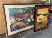 Sale 9004 - Lot 2047 - A Fine Vintage Embroidery illustrating Sunset Island & Fisherman, 65 x 50cm (frame) together with a Paul Gaugain Arearea Decorativ...