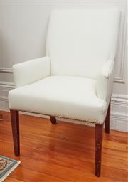 Sale 9081H - Lot 13 - A pair of smart white simulated leather armchairs with brass studs, Height of back 75cm