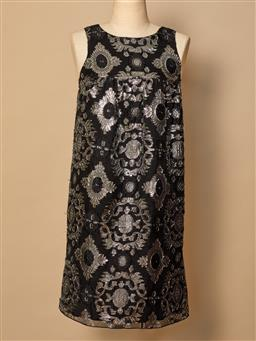 Sale 9093F - Lot 72 - An Anna Sui black and silver floral silk dress size medium